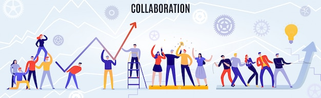 Concepto de trabajo en equipo de oficina con personas que trabajan juntas horizontal plana