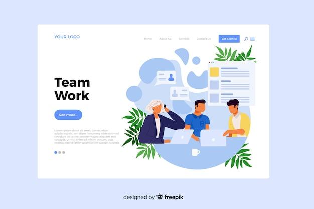 Concepto de trabajo en equipo para la página de inicio