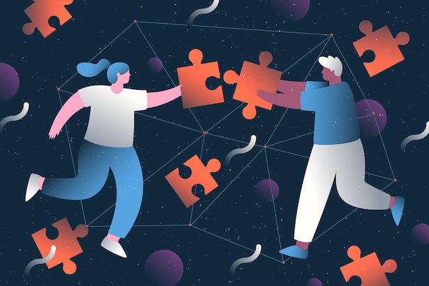 Concepto de trabajo en equipo con personas haciendo rompecabezas