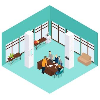 Concepto de trabajo en equipo de personas isométricas