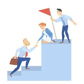 Concepto de trabajo en equipo. personas de pie en el gráfico con bandera y se ayudan entre sí. idea de progreso empresarial y solución. ganar en desafío. aislado