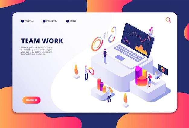 Concepto de trabajo en equipo. las personas trabajan con cuadros y gráficos de finanzas. análisis y optimización de datos empresariales. diseño de vector de página web de aterrizaje