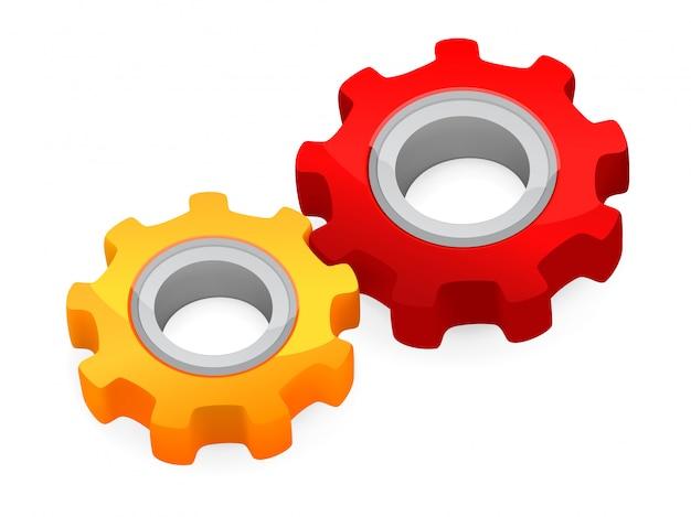 Concepto de trabajo en equipo - piñones conectados
