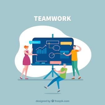 Concepto de trabajo en equipo con presentación de negocios