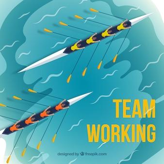 Concepto de trabajo en equipo con regata