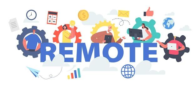 Concepto de trabajo en equipo remoto. conferencia del grupo de webcam de trabajadores con compañeros de trabajo. personajes de negocios, empleados de oficina hablan en carteles, pancartas o volantes de videollamadas. ilustración de vector de gente de dibujos animados