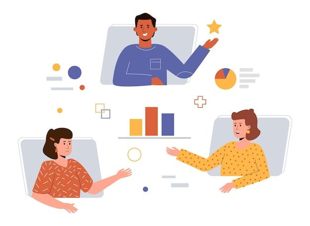 El concepto de trabajo en equipo remoto, reunión en línea y lluvia de ideas.