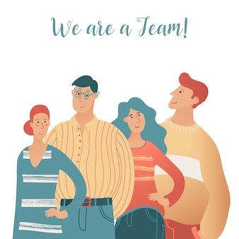 Concepto de trabajo en equipo con retrato de medio cuerpo de cuatro jóvenes hombres y mujeres juntos