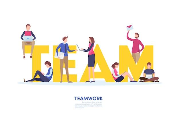 Concepto de trabajo en equipo.
