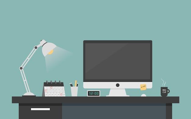 Concepto de trabajo de escritorio de la computadora.