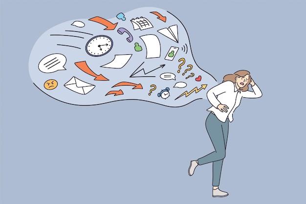 Concepto de trabajo de exceso de trabajo de estrés de sobrecarga