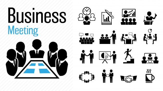 Concepto de trabajo de grupo de icono de reunión de negocios