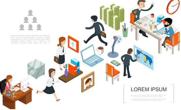 Concepto de trabajo de oficina isométrica con gente de negocios, marcos de fotos seguros, pilas de reloj portátil de dinero, lámpara, papelería, taza de café, ilustración,