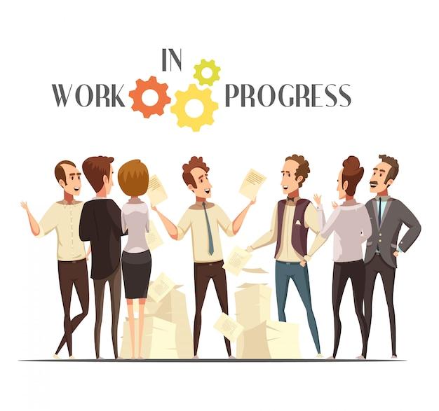 Concepto de trabajo en progreso con reunión y pensamiento creativo símbolos ilustración vectorial de dibujos animados
