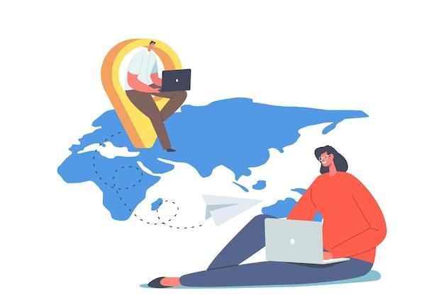 Concepto de trabajo remoto de personajes. teletrabajo y subcontratación global, los empleados trabajan desde casa sentados en el mapa del mundo. distancia social durante la cuarentena por coronavirus. ilustración de vector de gente de dibujos animados