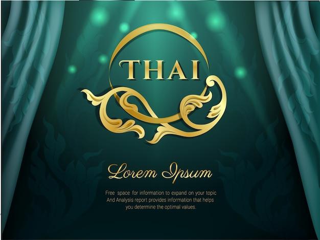 Concepto tradicional de patrón tailandés, color verde.