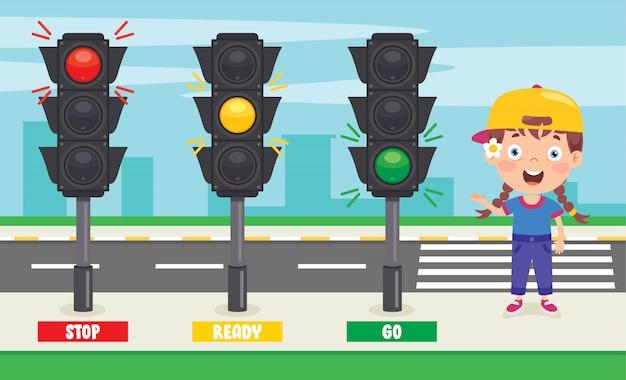 Concepto de tráfico con personajes divertidos
