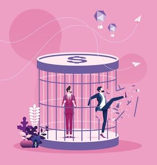 Concepto de la trampa del dinero del avance del hombre de negocios