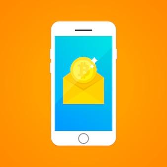 Concepto de transacción de bitcoin a través de sms.