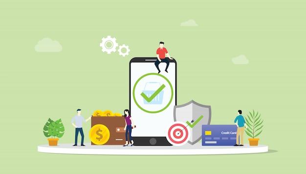 Concepto de transacciones de pago seguro de negocio en línea