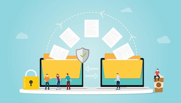 El concepto de transferencia de archivos con carpetas y la transferencia de archivos se mueve con seguridad y con candados y personas del equipo con un estilo moderno y plano