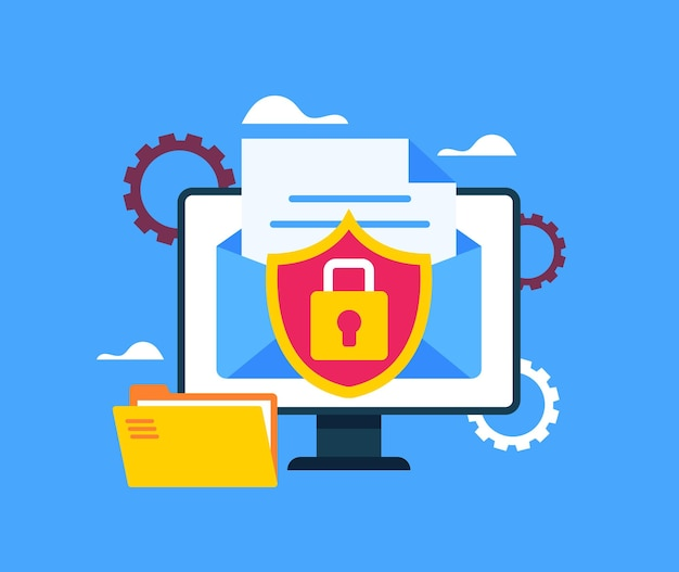 Concepto de transferencia de documentos de archivo de sobre de milla de datos seguros.