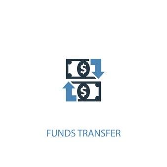 Concepto de transferencia de fondos 2 icono de color. ilustración simple elemento azul. diseño de símbolo de concepto de transferencia de fondos. se puede utilizar para ui / ux web y móvil