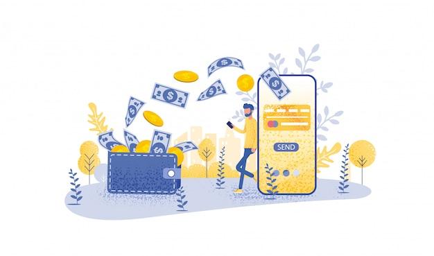 Concepto de transferencia en línea con teléfono inteligente de mano