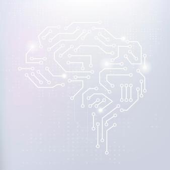 Concepto de transformación digital de vector de fondo de cerebro de tecnología ai