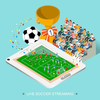 Concepto de transmisión de fútbol en vivo en diseño plano isométrico 3d