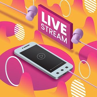Concepto de transmisión en vivo en dispositivos móviles