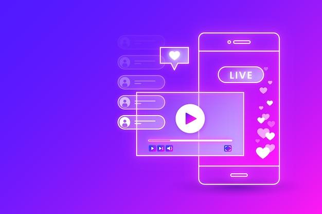 Concepto de transmisión en vivo de gradiente e interfaz de teléfono móvil