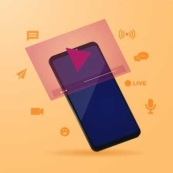Concepto de transmisión en vivo con ilustración de teléfono inteligente