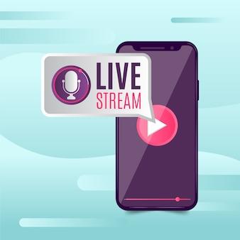Concepto de transmisión en vivo en línea