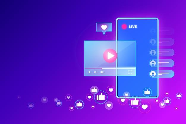 Concepto de transmisión en vivo y noticias frescas