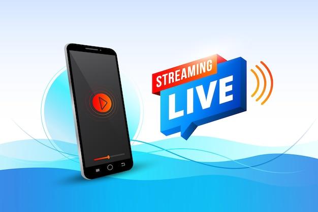 Concepto de transmisión en vivo con teléfono inteligente