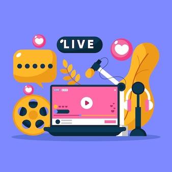 Concepto de transmisión en vivo