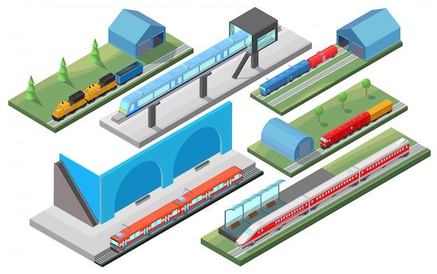 Concepto de transporte ferroviario isométrico