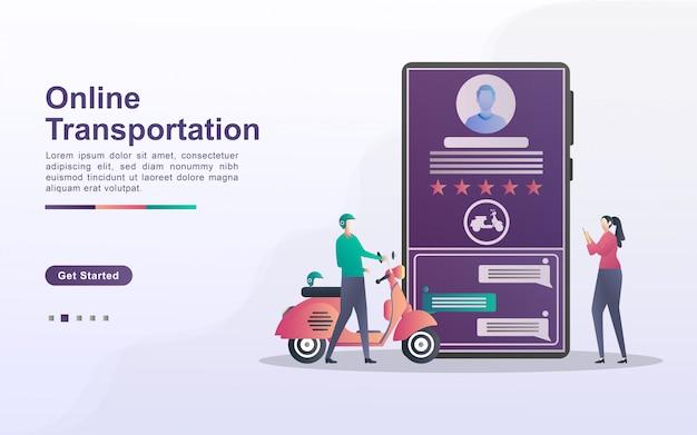 Concepto de transporte en línea. las personas solicitan transporte a través de la aplicación móvil. ordene comida en línea. servicios de transporte de la ciudad. se puede usar para la página de destino web, folleto, aplicación móvil.