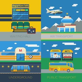 Concepto de transporte de pasajeros 2x2