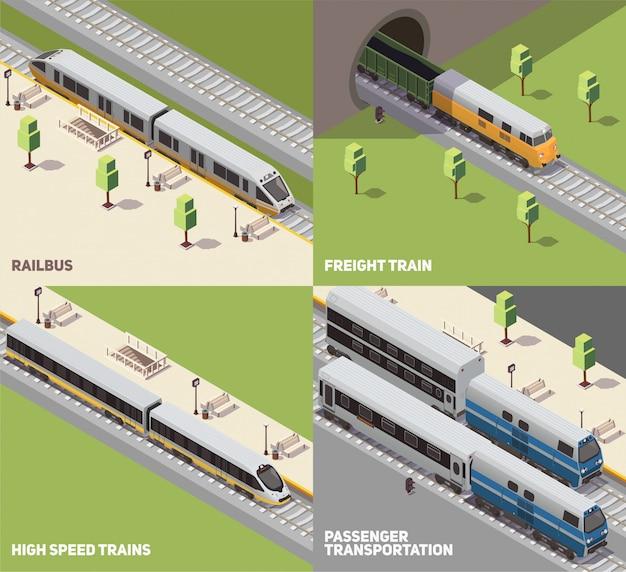 Concepto de transporte de pasajeros y carga de mercancías por ferrocarril y trenes de alta velocidad 4 iconos isométricos conjunto isométrico