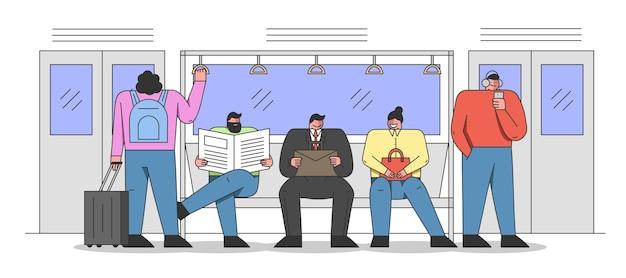 Concepto de transporte público. la gente viaja en metro en su camino.