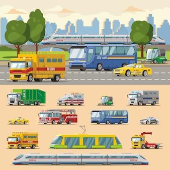 Concepto de transporte urbano colorido