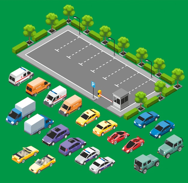 Concepto de transporte urbano isométrico
