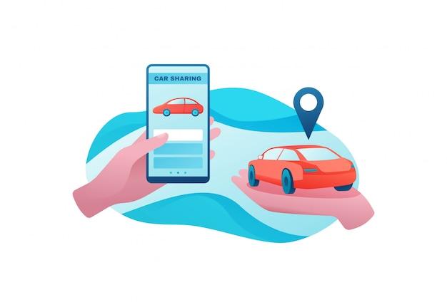 Concepto de transporte urbano, servicio de coche compartido.