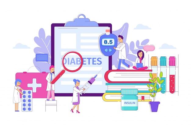 Concepto de tratamiento clínico de diabetes, ilustración vectorial. resultado de la prueba de glucosa en sangre alta, investigación de enfermedades. personaje médico