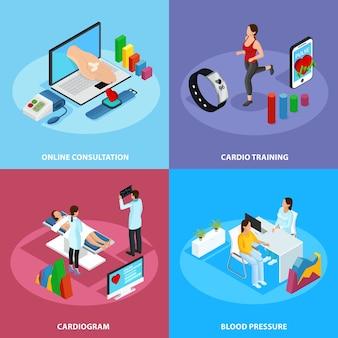 Concepto de tratamiento médico digital isométrico