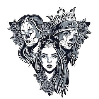 Concepto triangular de chicas guapas chicanas