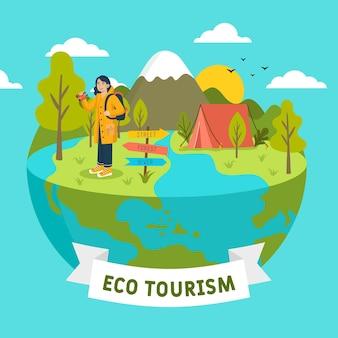 Concepto de turismo ecológico con globo