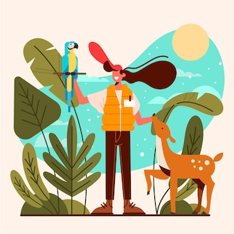 Concepto de turismo ecológico ilustrado